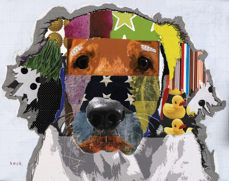 dog art golden retriever art collage