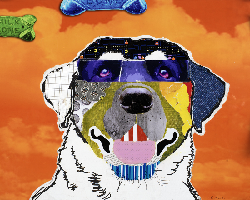 dog art: labrador dog collage pop art by michelkeck.com