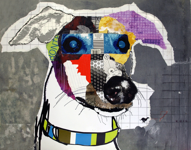 greyhound dog pop art collage by michelkeck.com
