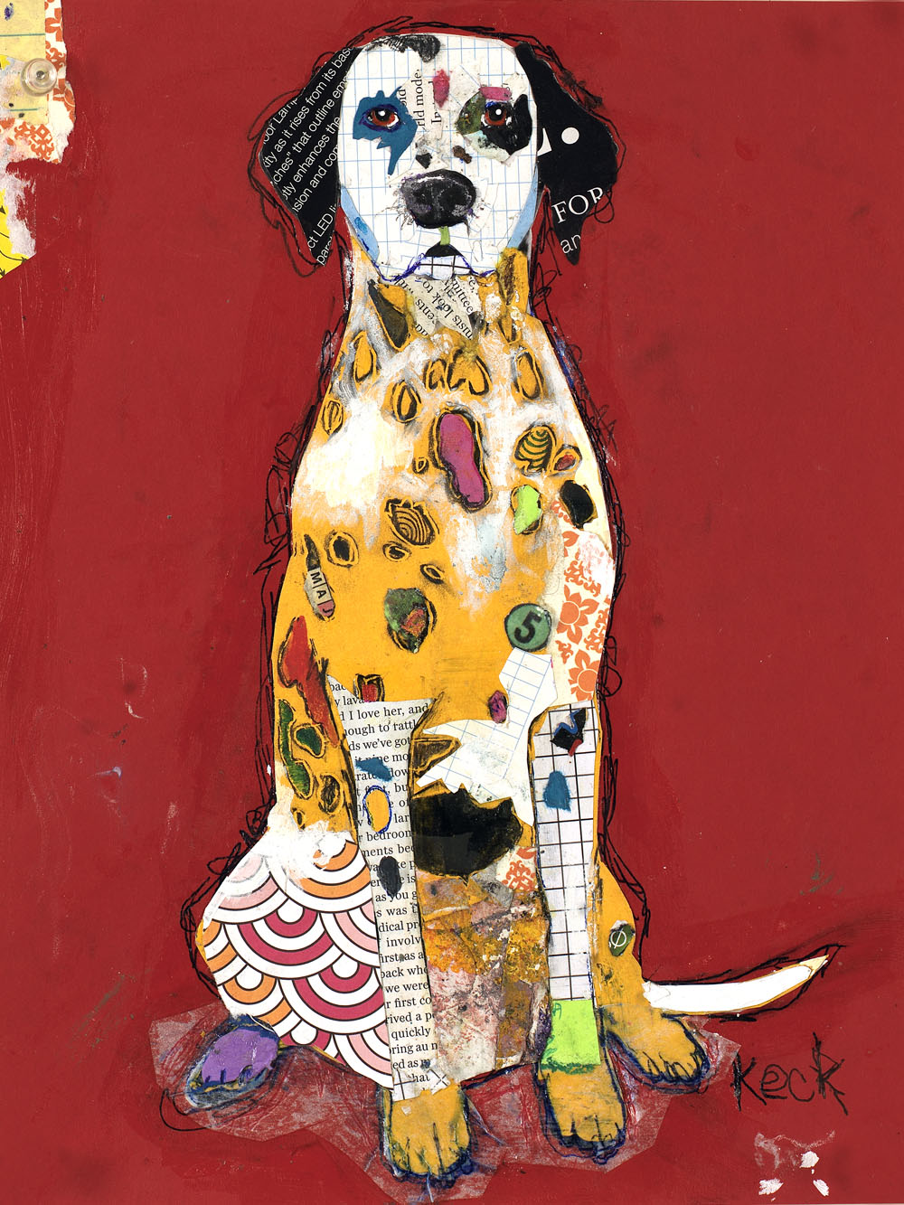 dog art, pop dog art, dog art collage, dalmation art, dalmation abstract art, dalmation collage art, dalmation pop art, michel keck dalmation dog art