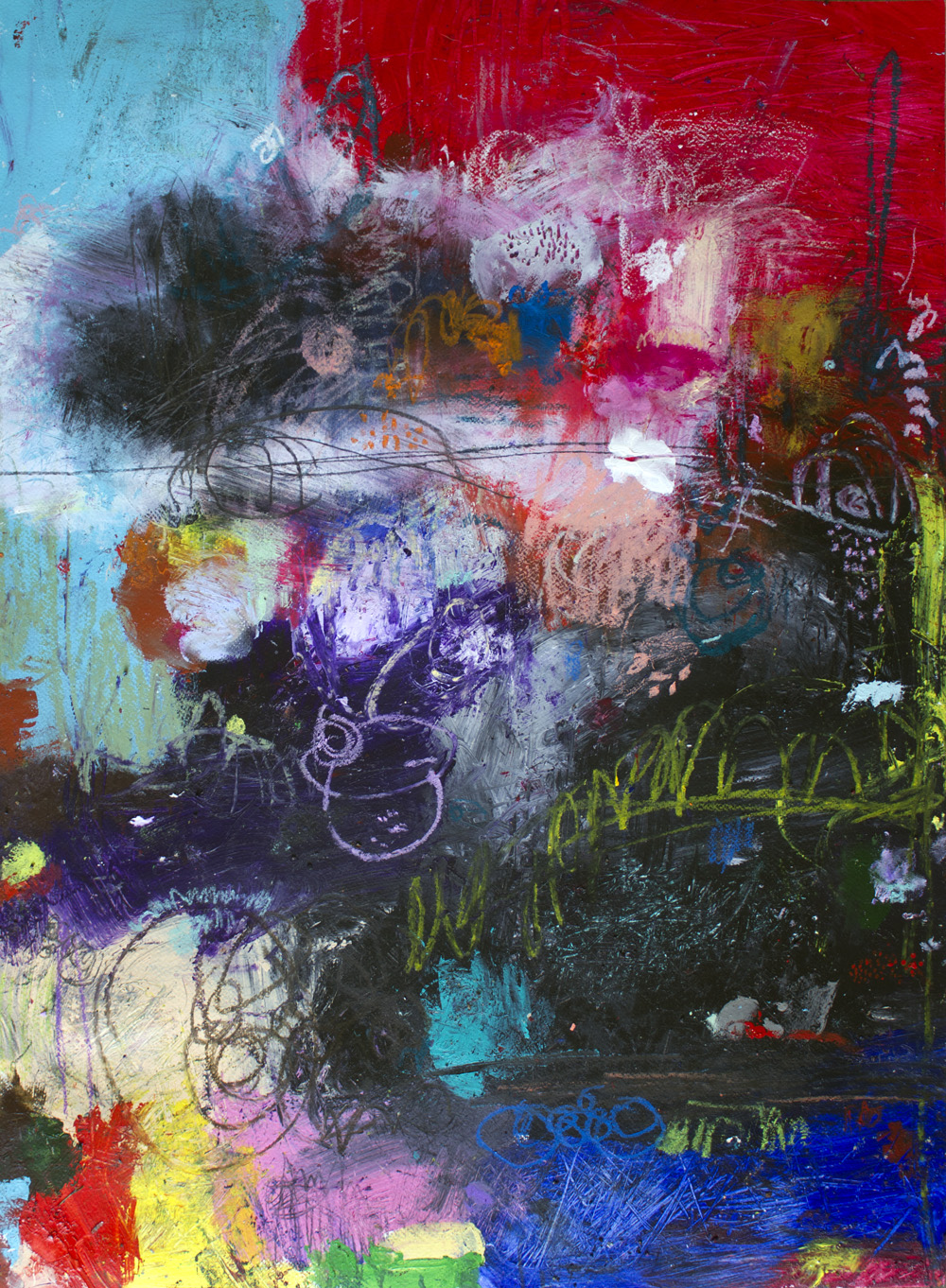 original abstract art painting on paper by michel keck