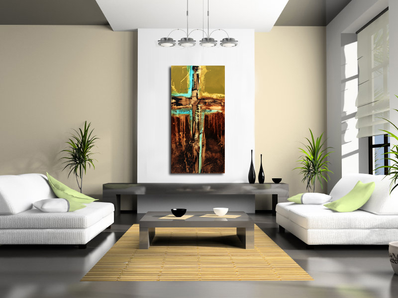 contemporary modern art room view with keck abstract art giclee print