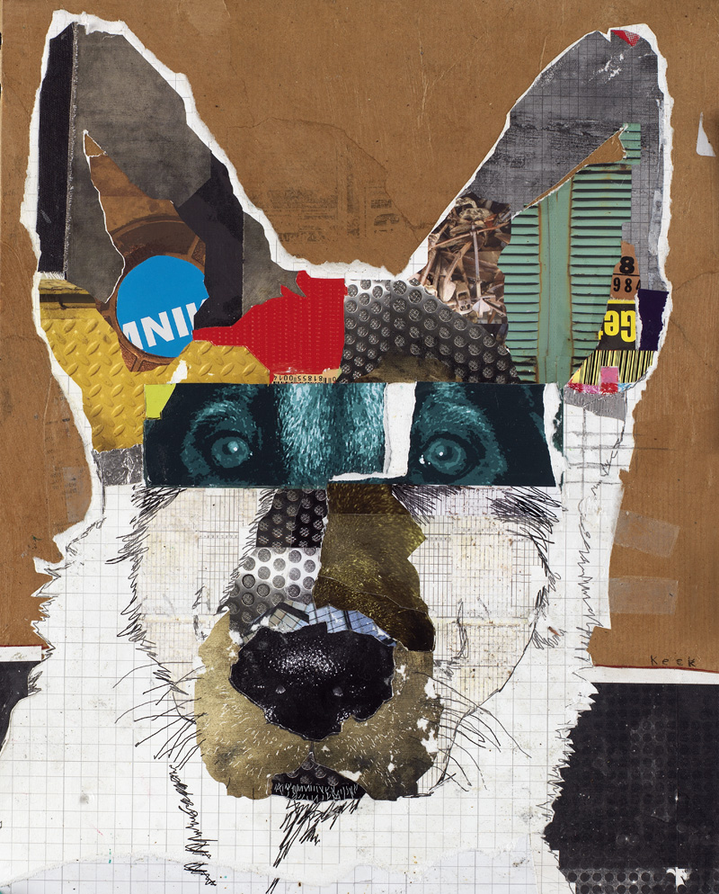 DOG ART Original German Shepherd Dog Art Collage: Dirty Paw Moo